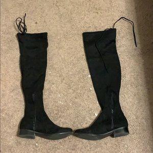 Velvet high boots